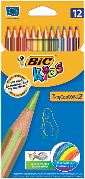 TROPICOLORS® 2 colouring pencils 12 colors